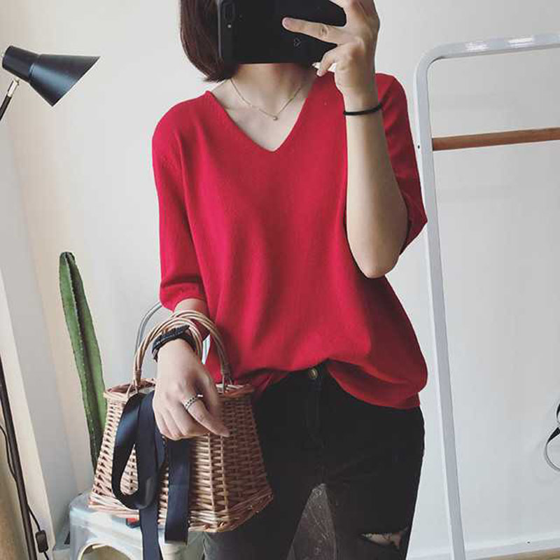 Women Spring Summer Pure Color Blouse Loose Casual Half-sleeve Knit T-shirt  red_One size