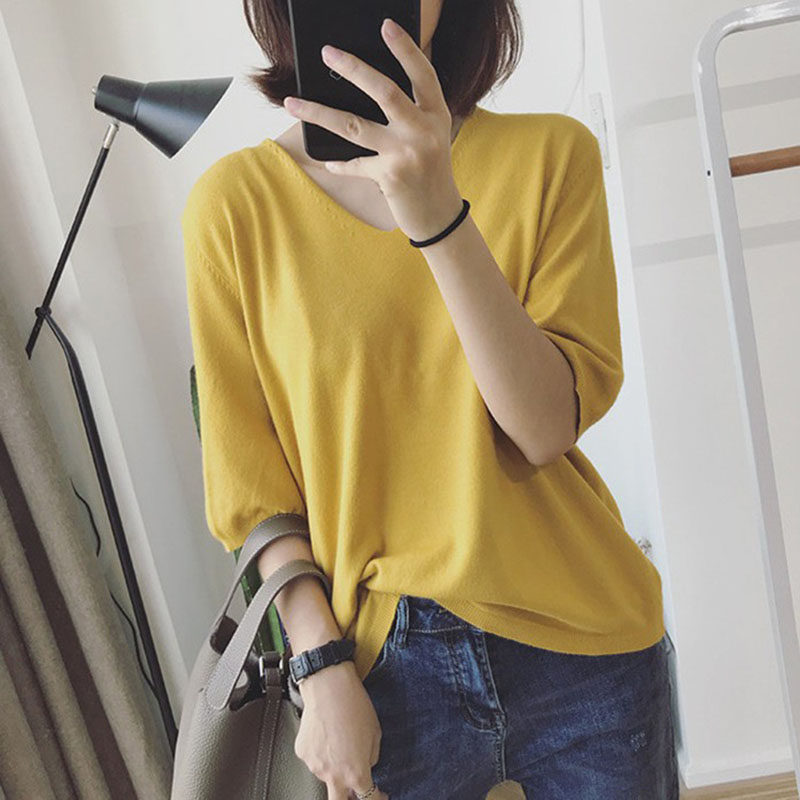 Women Spring Summer Pure Color Blouse Loose Casual Half-sleeve Knit T-shirt  yellow_One size