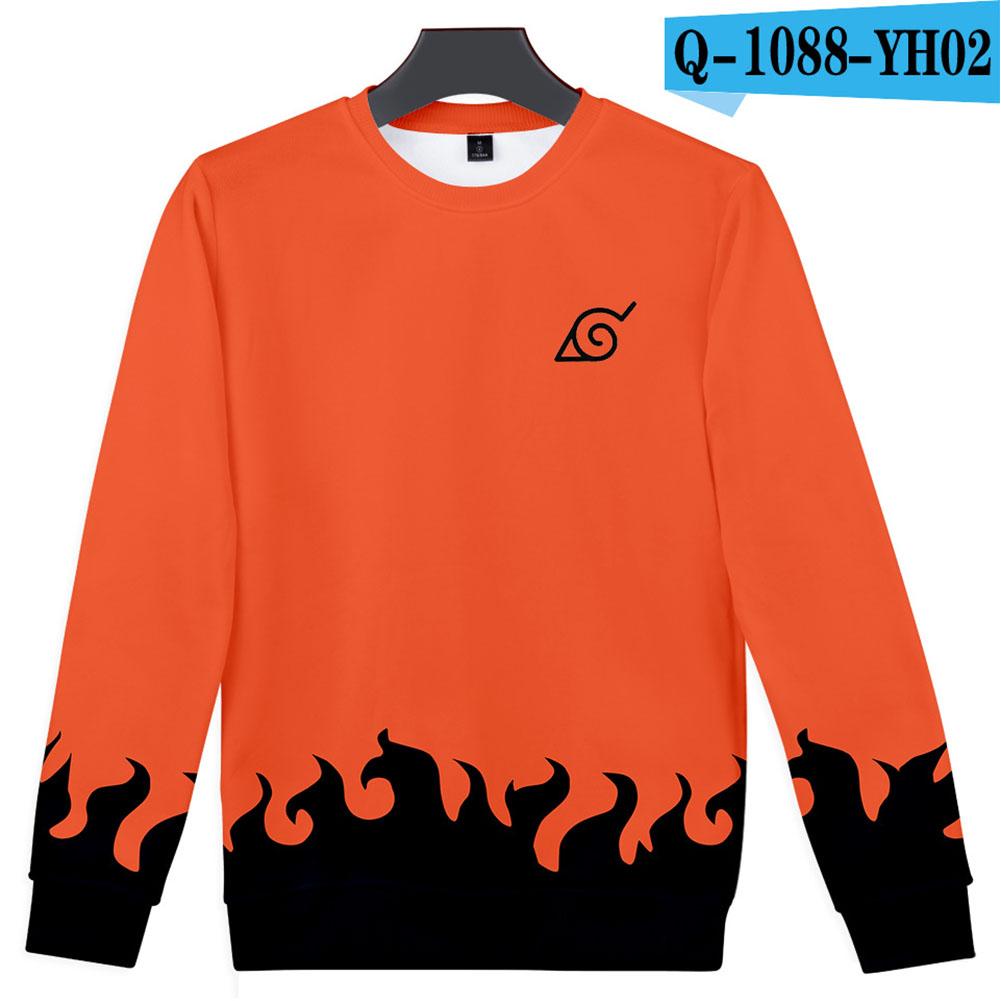 Unisex Cool Naruto Anime 3D Printed Round Collar Sweatshirts Sweater Coat B style_M