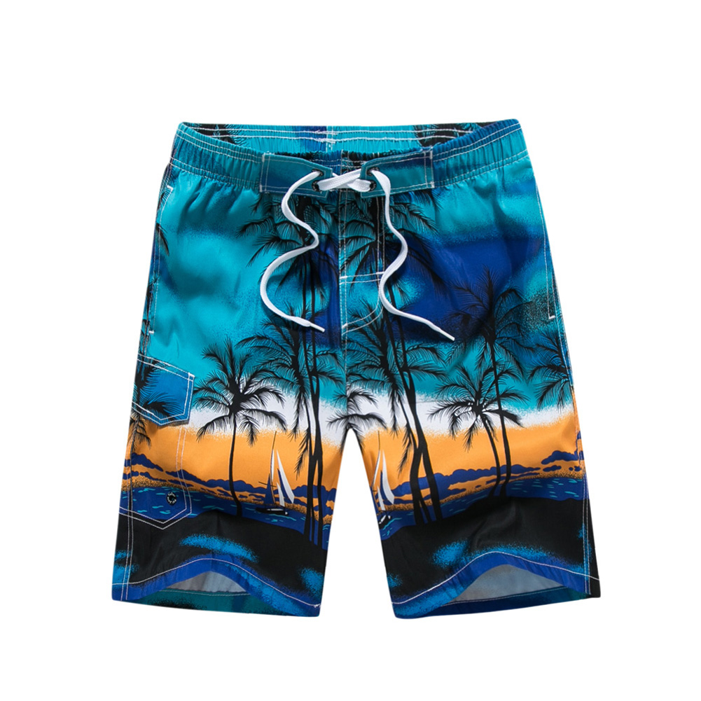 Male Beach Shorts Elastic Waist Pants with Coconut Tree Printed Leisure Vacation Wear blue_XL