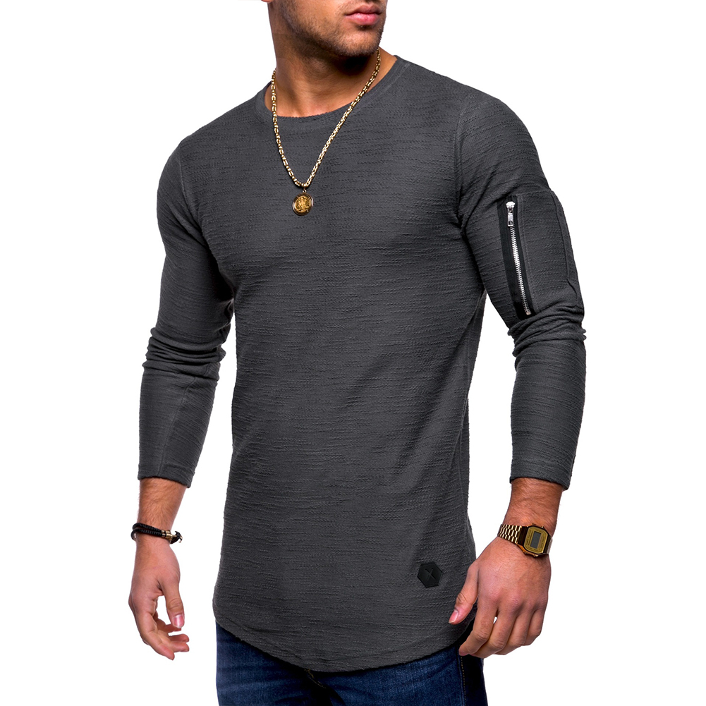 Men Shirt Casual Long Sleeve Zipper Pocket Pullover Slim Fit Top gray_L