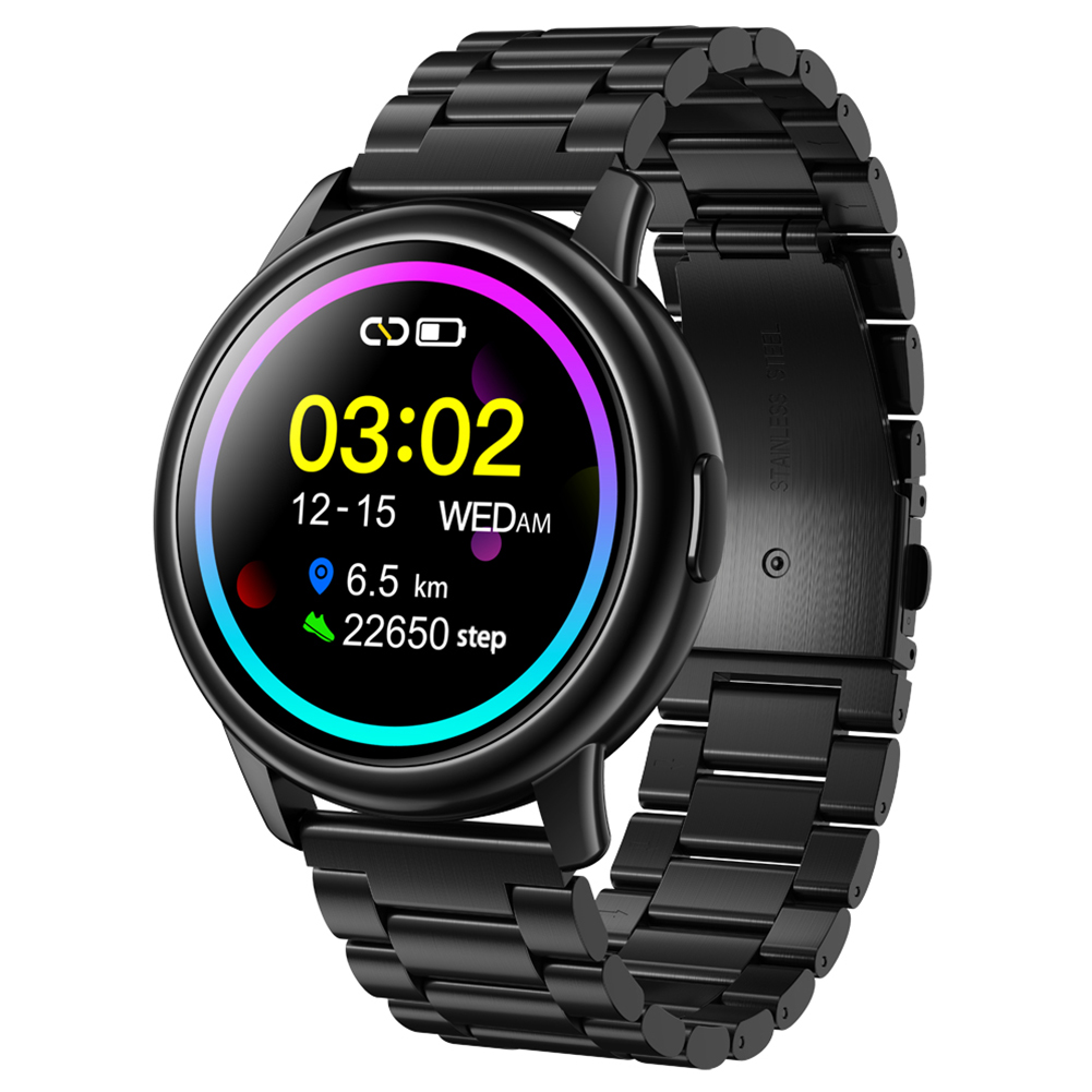 Original LEMFO Lf28 Smartwatch Ip68 Waterproof Heart Rate Monitor Sport Smart Watch 30 Days Standby Black dial black steel belt