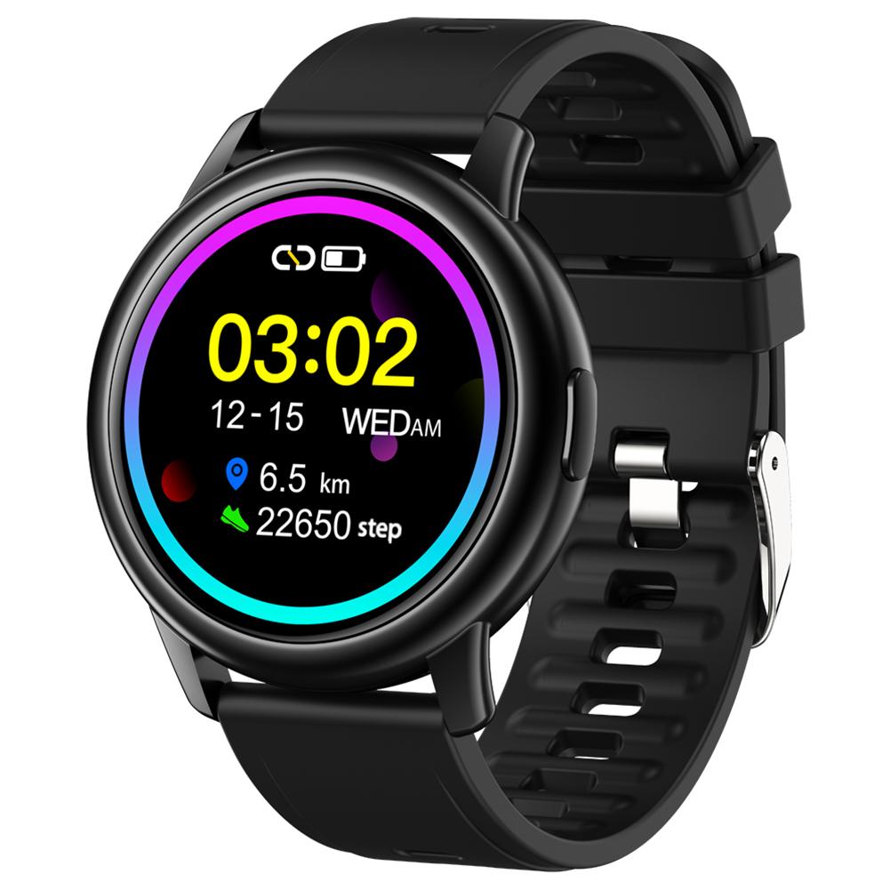 Original LEMFO Lf28 Smartwatch Ip68 Waterproof Heart Rate Monitor Sport Smart Watch 30 Days Standby Black dial black rubber belt