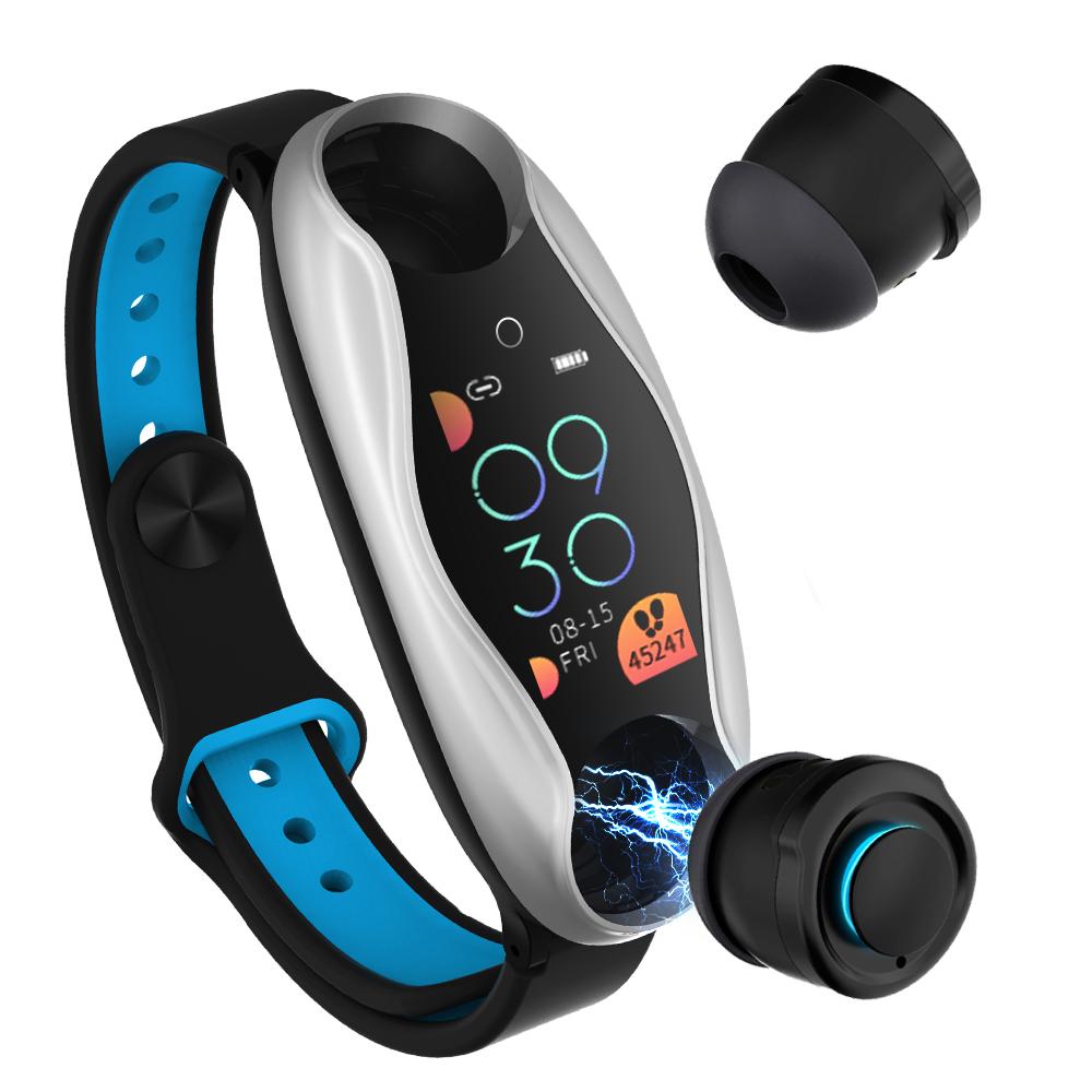 Original LEMFO LT04 Fitness Bracelet Wireless Bluetooth Earphone 2 In 1 Bluetooth 5.0 Chip IP67 Waterproof Sport Smart Watch Silver