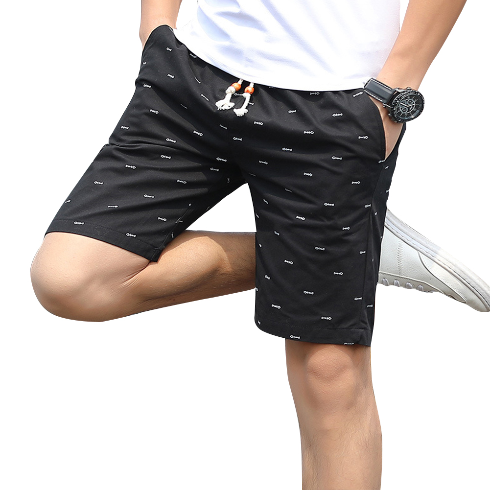 Men Cotton Middle Length Trousers Baggy Fashion Slacks Sport Beach Shorts Black (fish bone)_L
