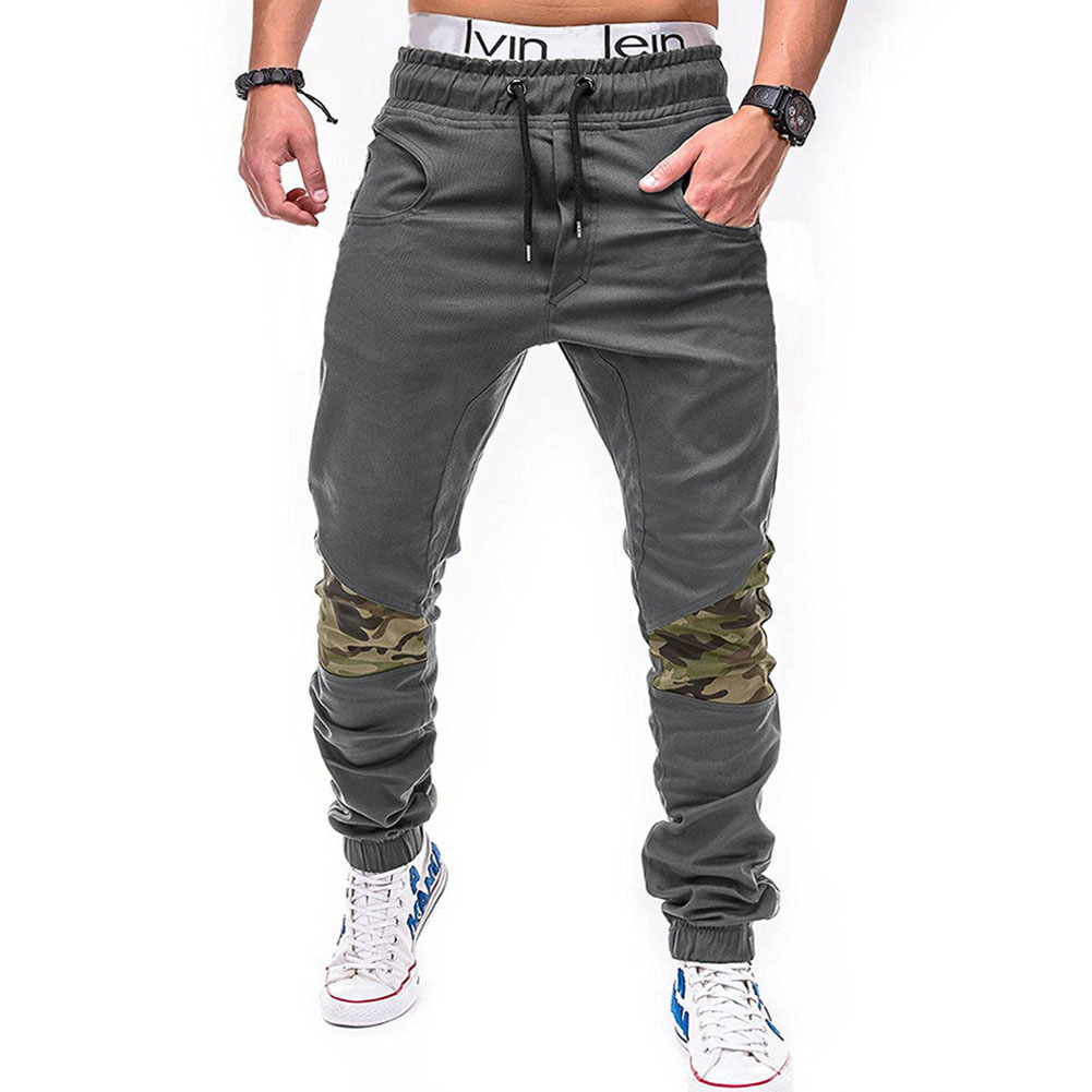 Men Fashion Camouflage Stitching Trousers Tight Trousers Foot Loose Casual Trousers  gray_L