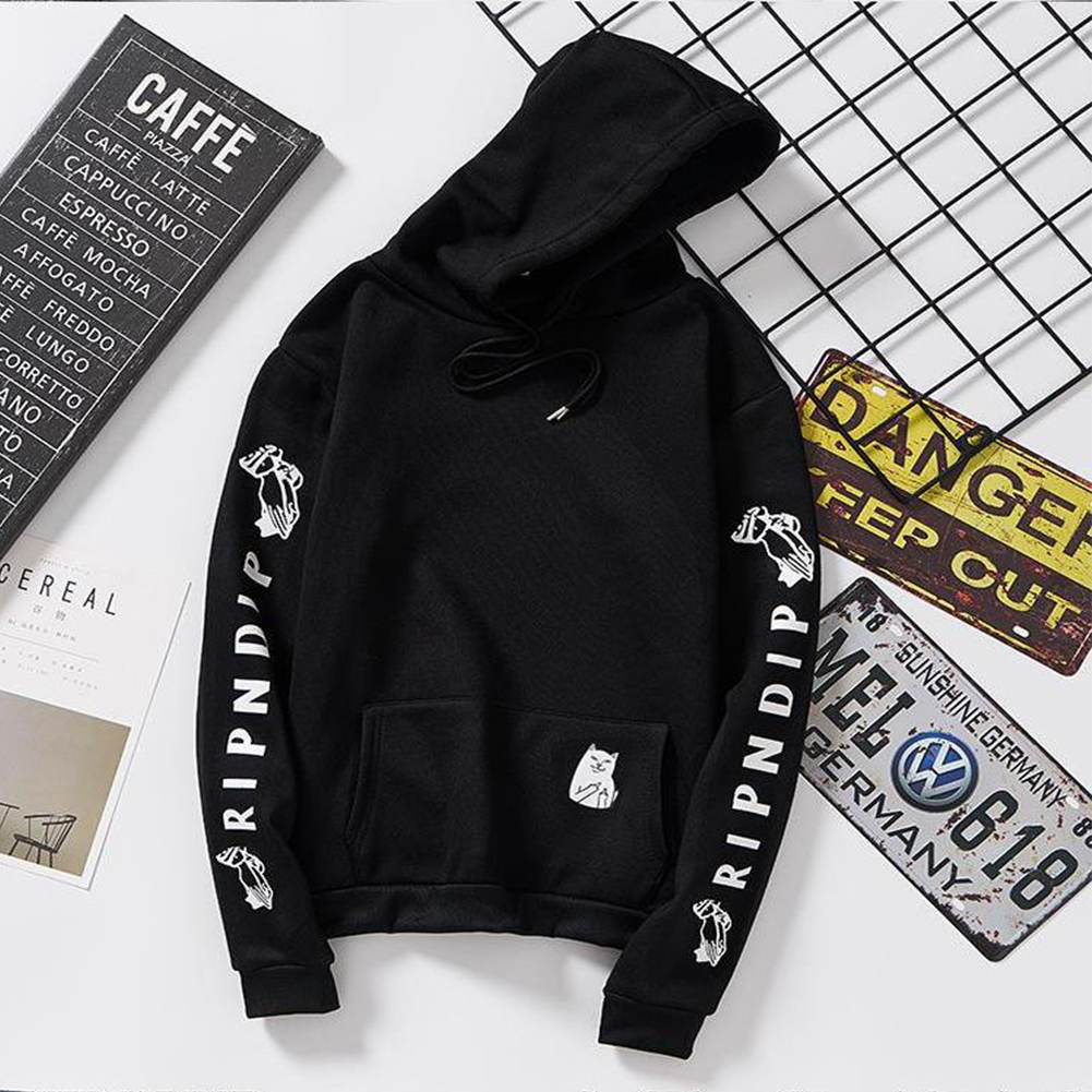 Unisex Fashion Plush All-matching Couple Simple Letters Printing Hoody Black_2XL