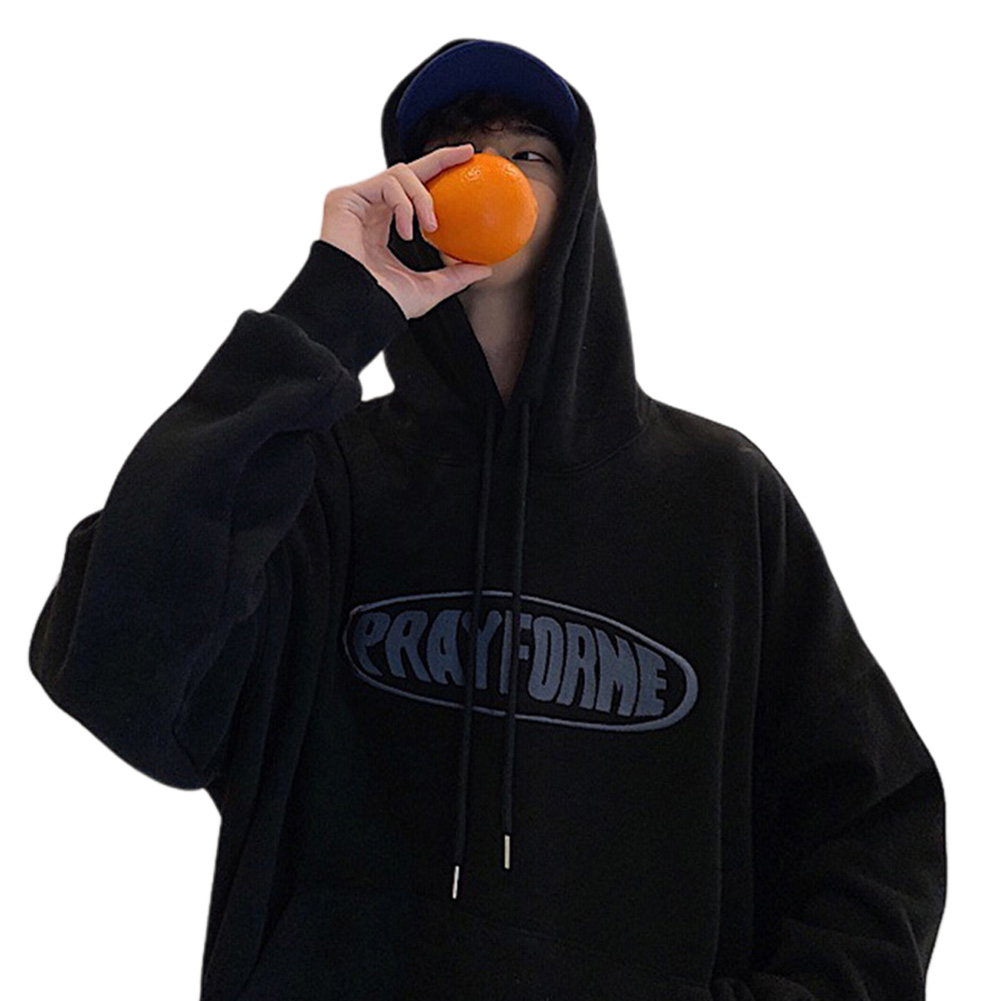 Men Women Fashion Hoodie Sweatshirt Letter Printing Loose Pullover Casual Tops Black_L