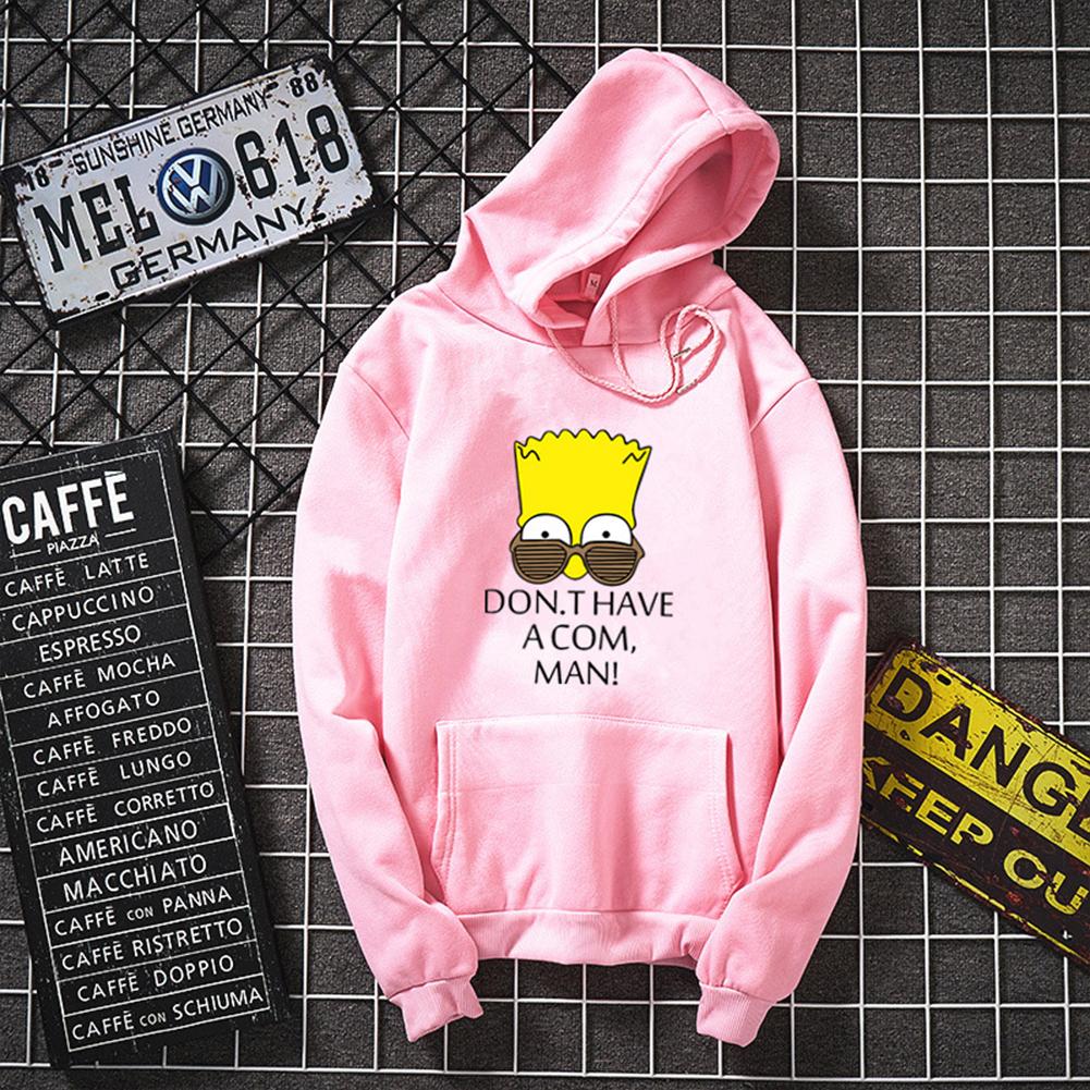 Women Men Lovers Hooded Cartoon Simpson Pattern Hooded Sweatshirt Pink_XL