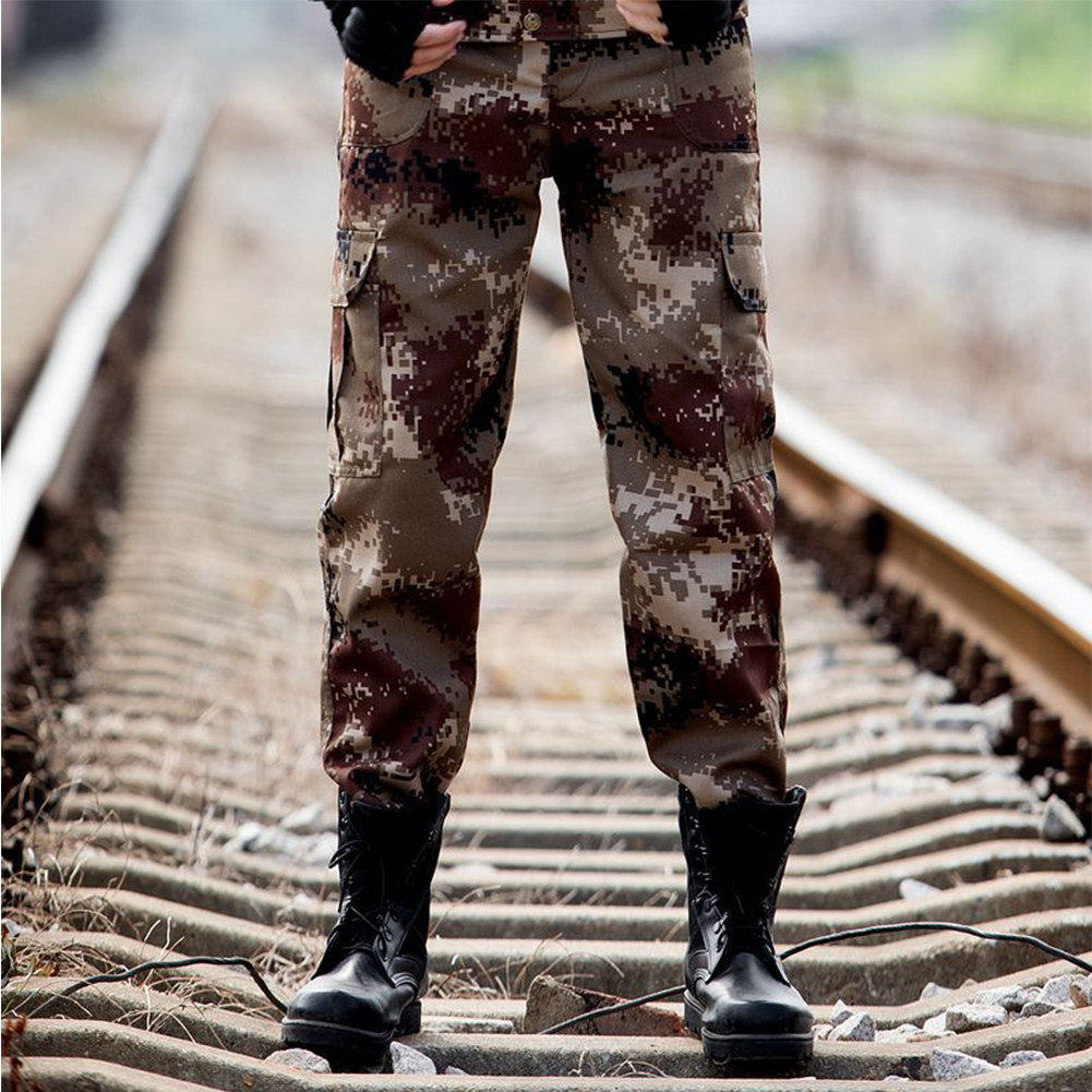 Unisex Special Training Camouflage High Strength Pants Wear Resistant Casual Trousers Desert camouflage _185=2XL