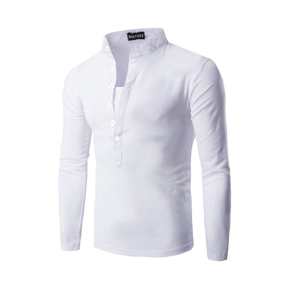 Men Fashion Shirt Slim Fit Casual Long Sleeve Pullover Tops white_L