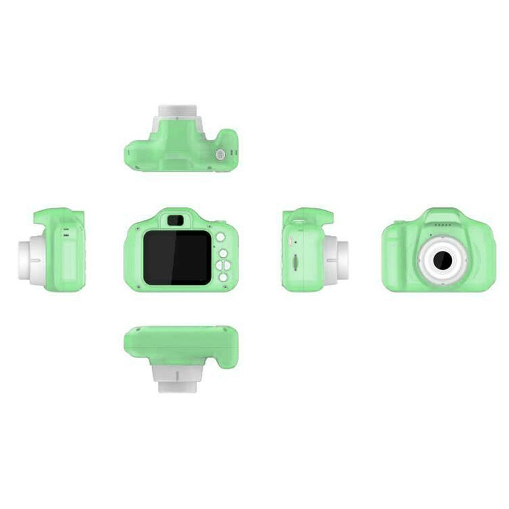 2 Inch HD Screen Chargable Digital Mini Camera Kids Cartoon Cute Camera Toys Outdoor Photography Props for Child  green