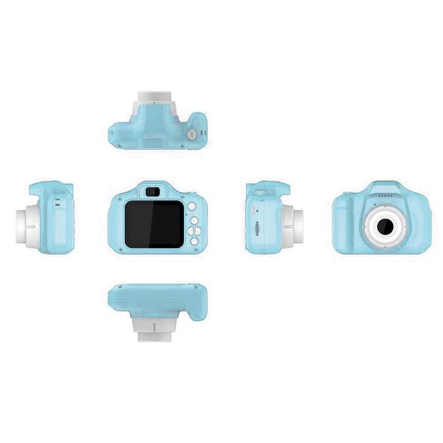 2 Inch HD Screen Chargable Digital Mini Camera Kids Cartoon Cute Camera Toys Outdoor Photography Props for Child  blue