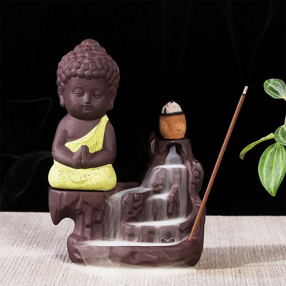 The Little Monk Backflow Incense Burner / Incense Cones Home Decoration Yellow incense burner