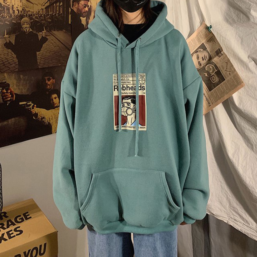 Fleece Hoodies Sweater Thicken Hooded Sweatshirts Casual Loose Pullover for Man green_2XL