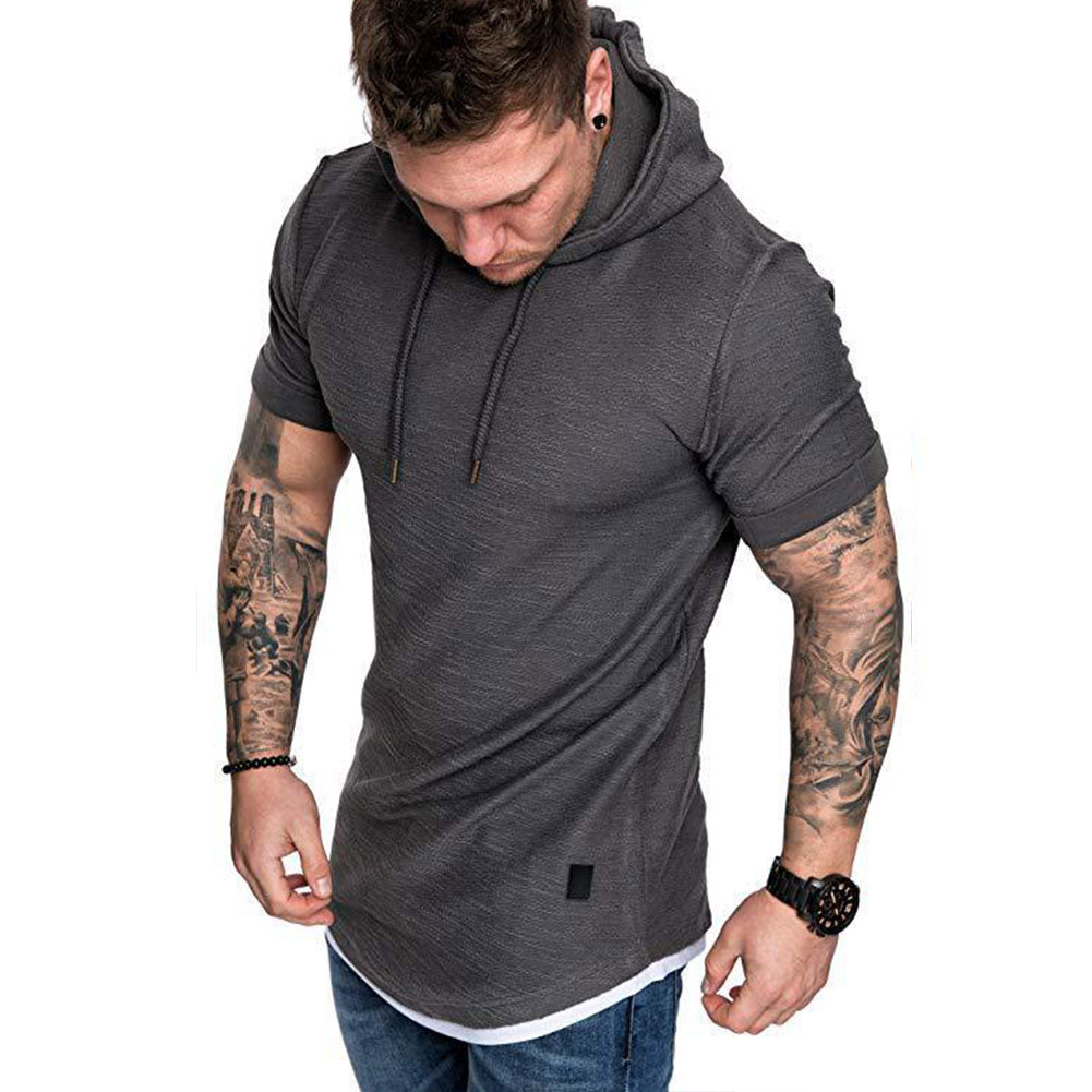 Men Summer Simple Solid Color Hooded Breathable Sports T-shirt Dark gray_L