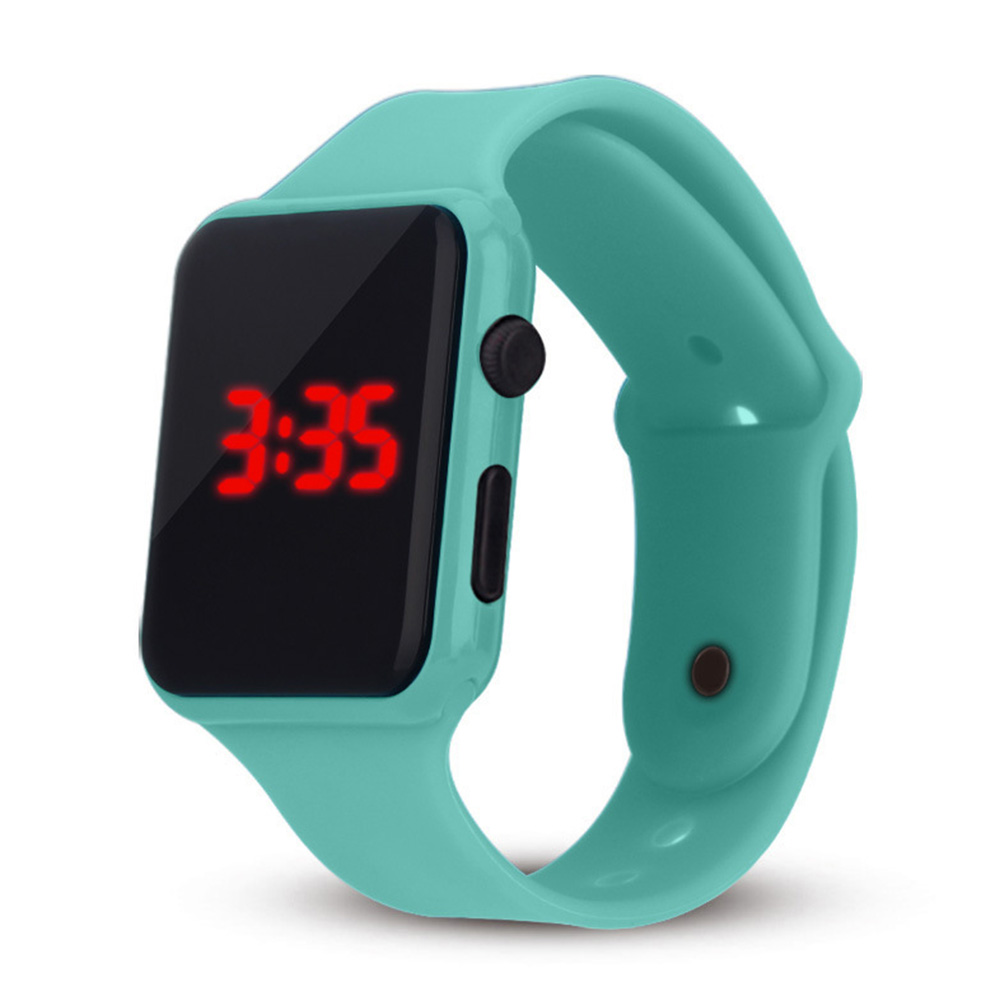Electric LED Wristwatch Silicone Band Digital Display Watch Gifts for Boys and Girls Mint Green