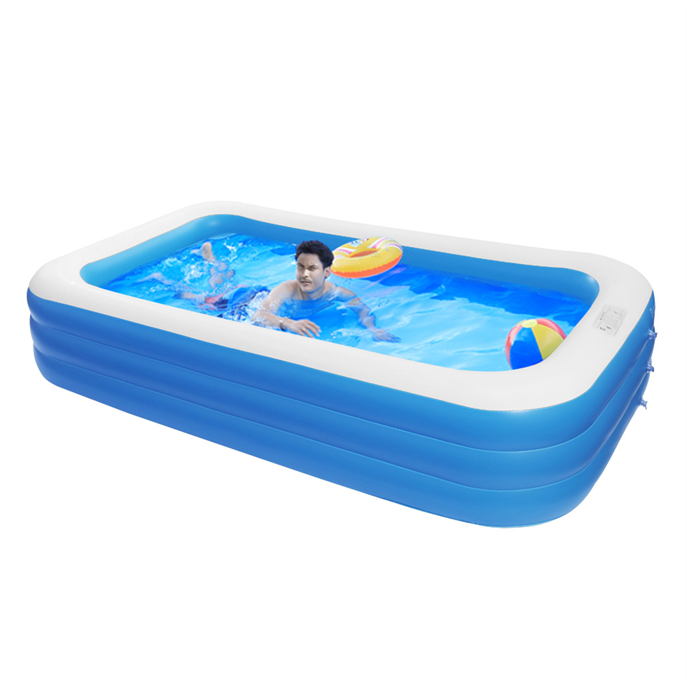 [US Direct] 1 Set 120*72*22in Inflatable  Swimming  Pool Wall Thickness 0.4mm Pvc 3 Layers Cuboid Pool Blue