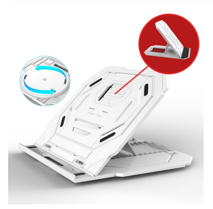 Multi-Angle Adjustment PC Bracket/Holder Rotating Laptop Stand Flexible with Turntable Attach Phone Bracket White (with turntable)