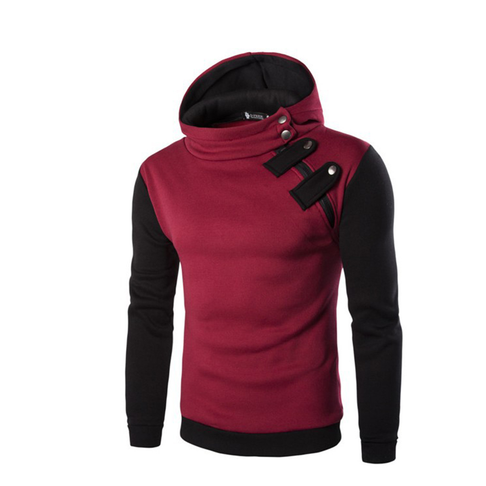 Men's Cause Hooded Slim Fit Cotton Long Sleeve Pullover Sweatershirt Tops Hoodies red_L