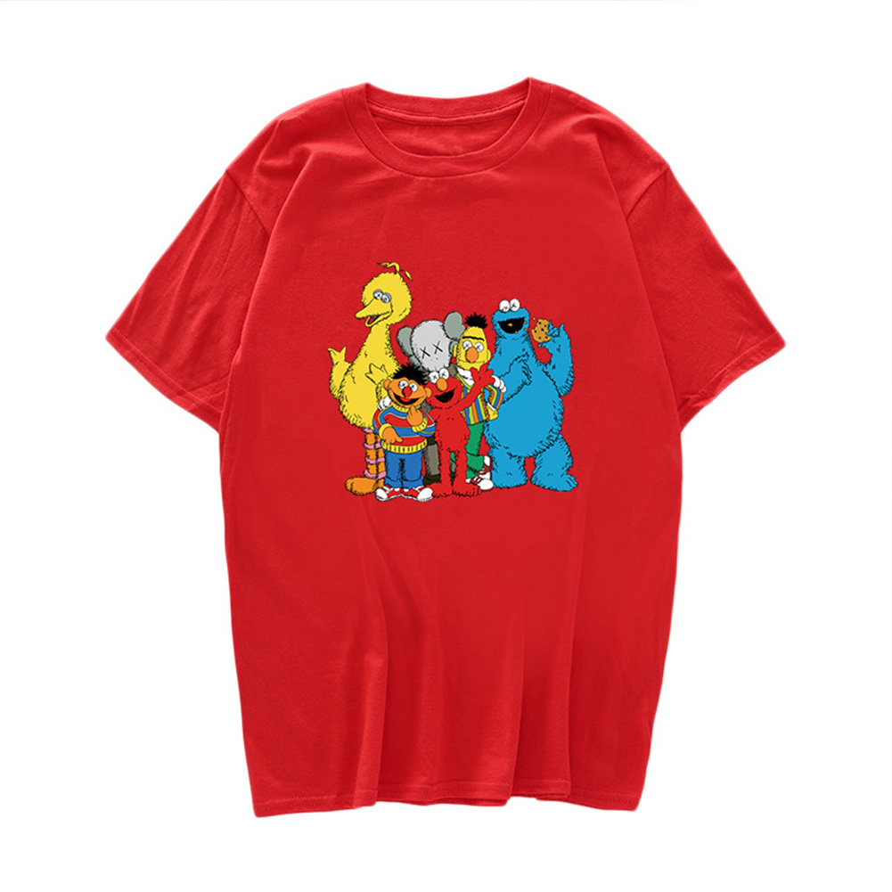 Boy Girl KAWS T-shirt Cartoon Animals Crew Neck Loose Couple Student Pullover Tops Red_L