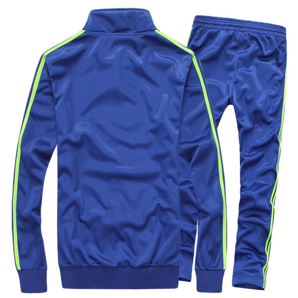 Men Autumn Sports Suit Striped Casual Sweater + Pants Two-piece Suit Outfit Navy blue_M