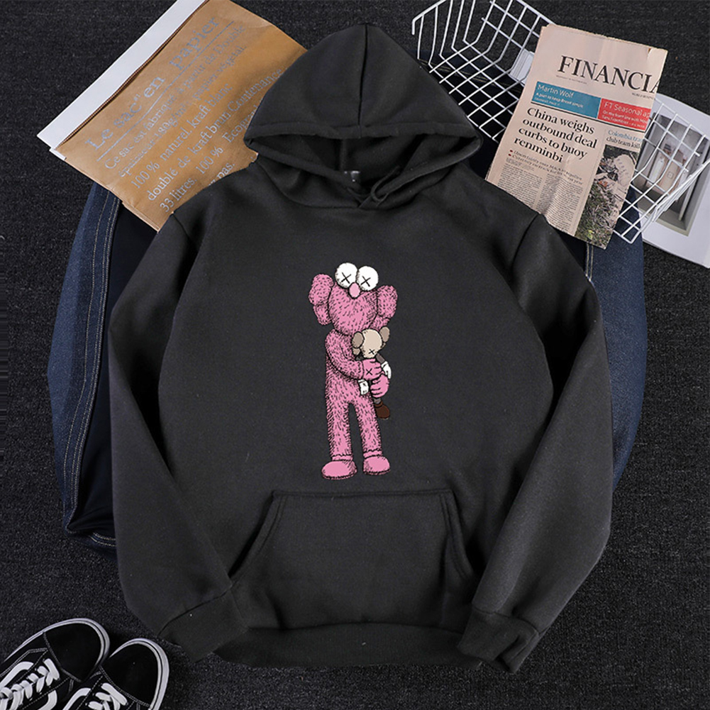 KAWS Men Women Hoodie Sweatshirt Cartoon Holding Doll Thicken Autumn Winter Loose Pullover Black_S