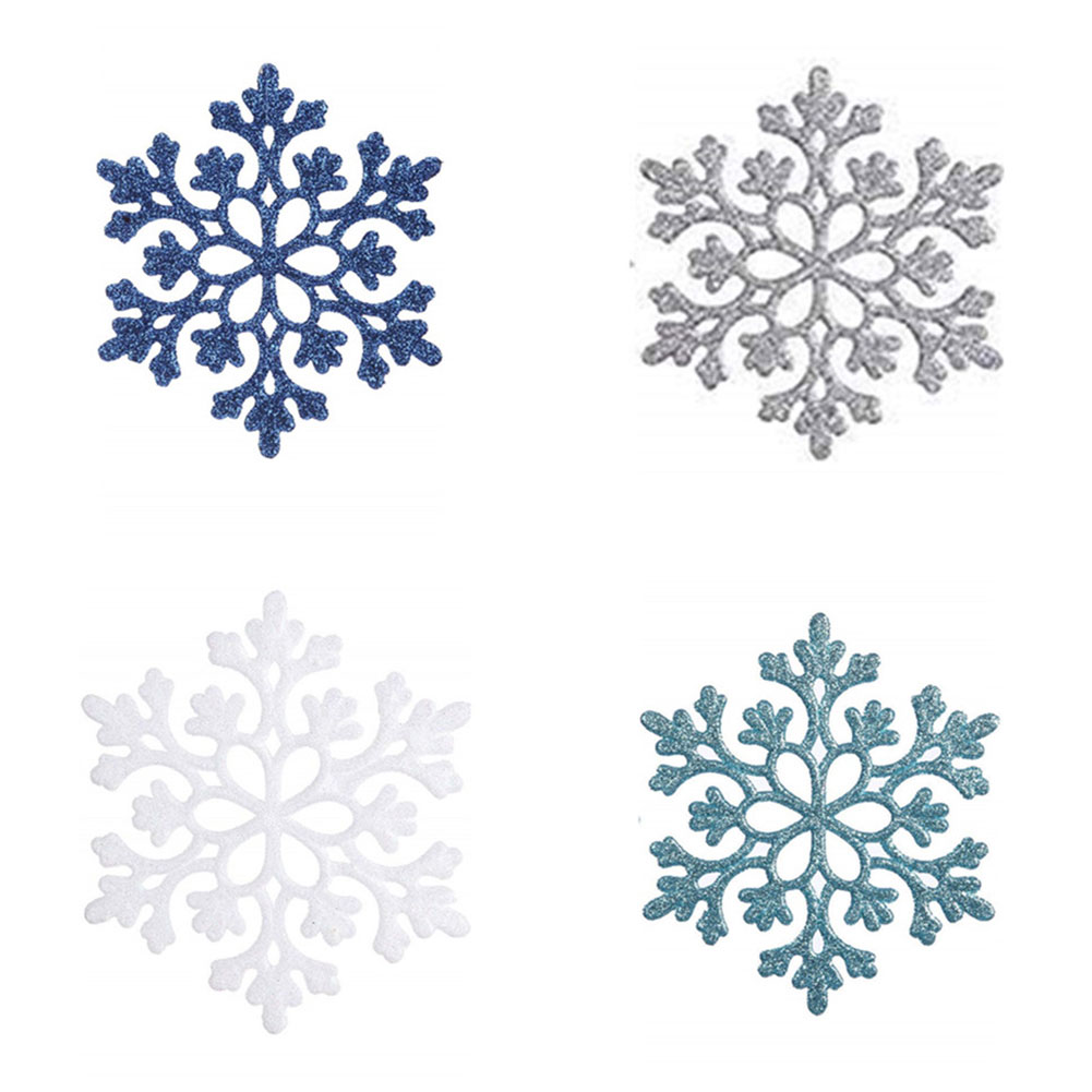24Pcs 4 Inches Glittering Snowflower Shape Decoration for Christmas Tree Four color combination