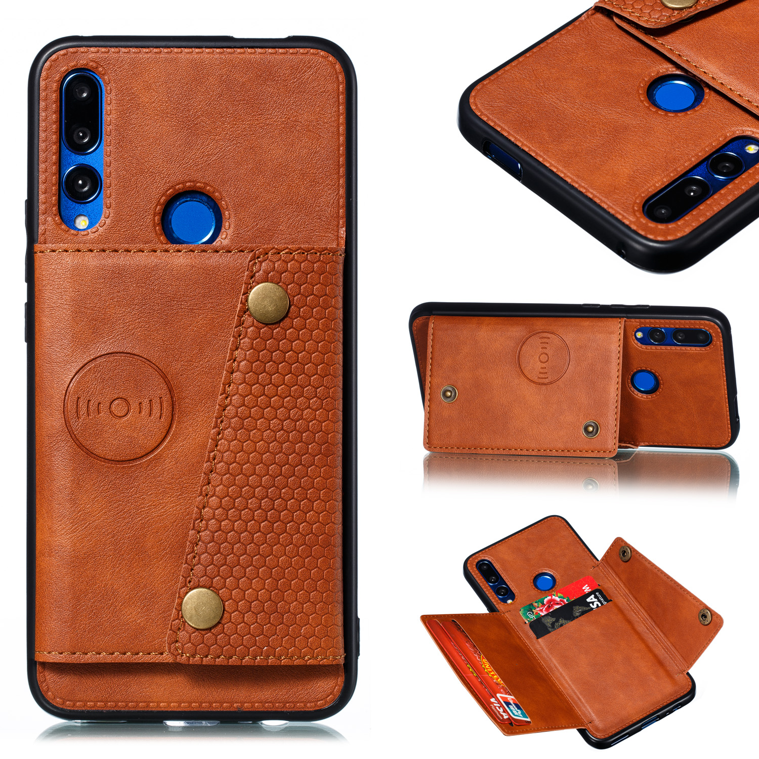 For HUAWEI Y9 prime 2019 PU Leather Shockproof Cell Phone Case Anti-dust Phone Case with Double Buckle Card Slot Pocket  Light Brown
