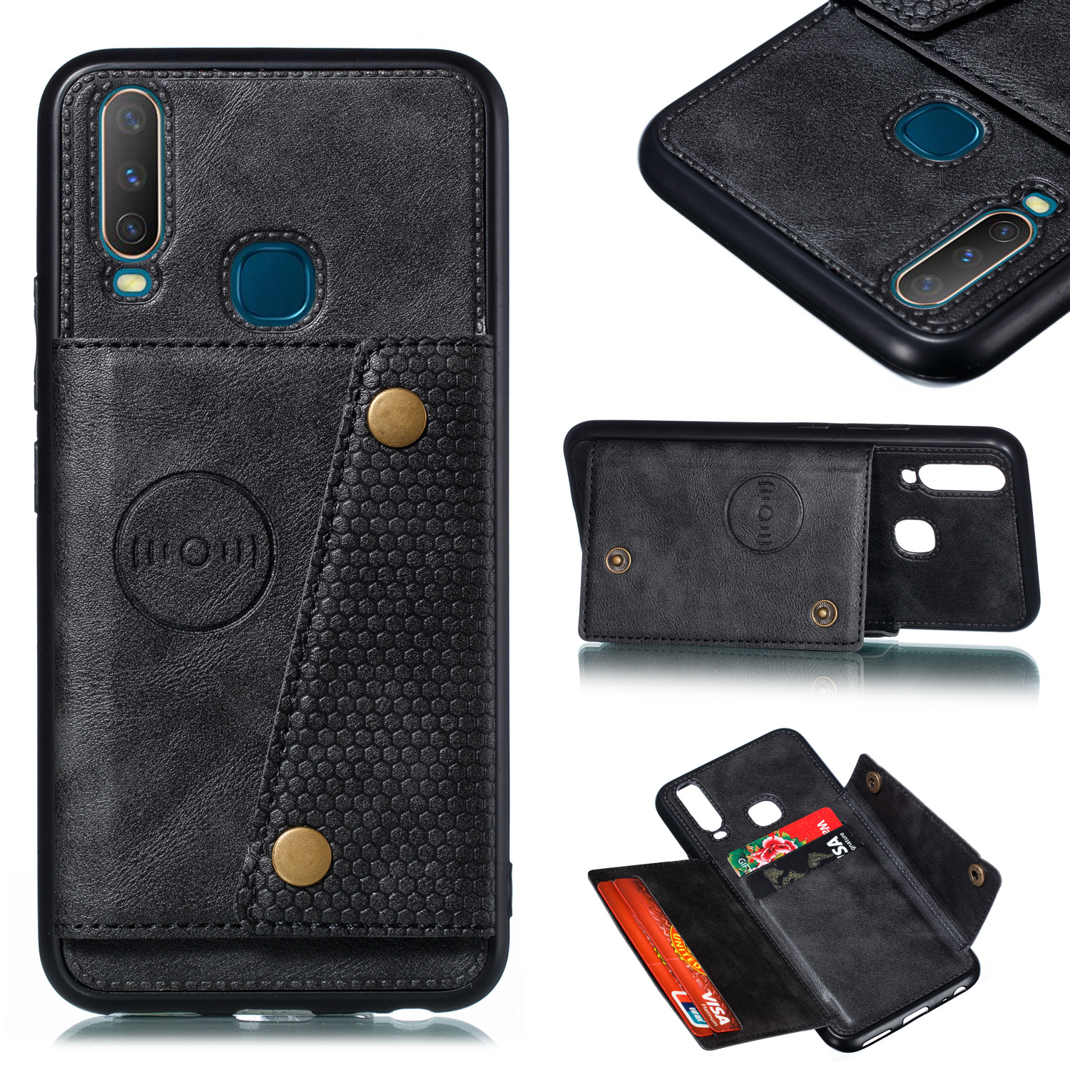 For VIVO Y17 Shockproof Double Buckle Wallet Case Cell Phone Case PU Leather Flip Stand Phone Cover With Card Slots black