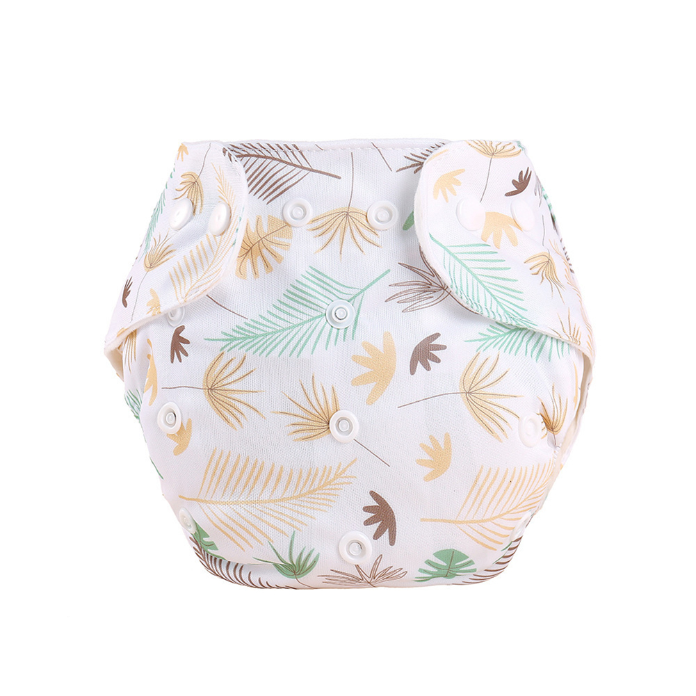 Knitted Fabric Baby Waterproof Diaper Barrier Baby Diapers  Pants Feather leaf_0-18 months