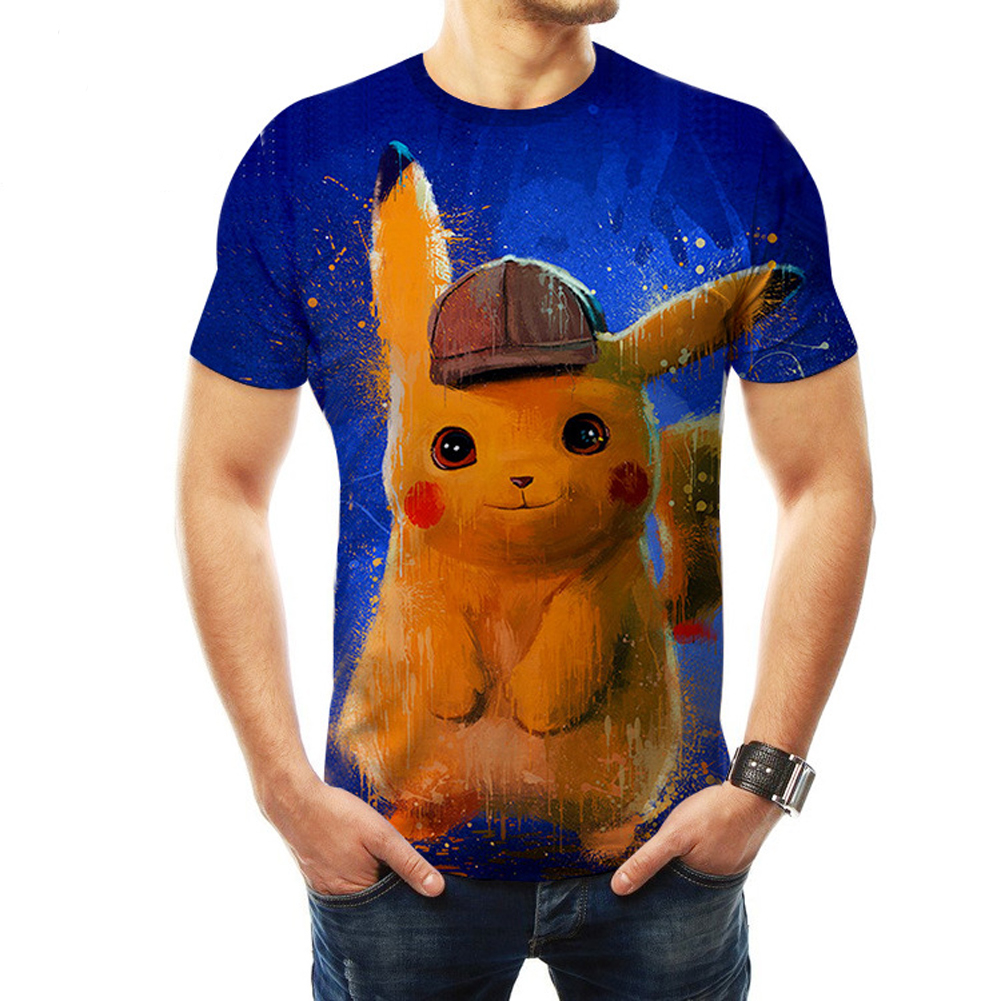 Men Women Pokemon's Detective Pikachu Cosplay 3D Movie Cartoon Printing Short Sleeve T-Shirt  D_L