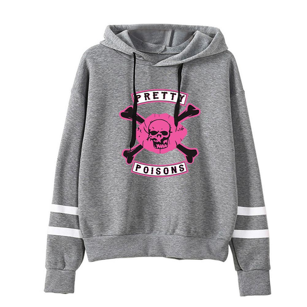 Men Women American Drama Riverdale Fleece Lined Thickening Hooded Sweater Tops Gray D_L