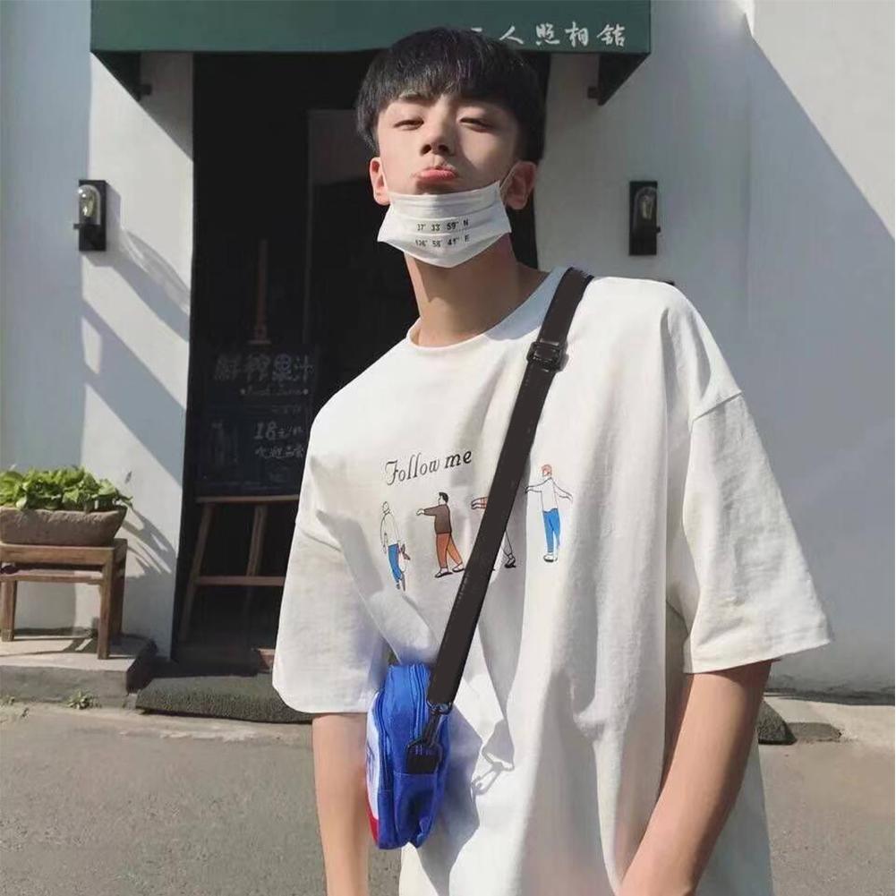 Men T-shirt Short-sleeved Top Summer Fashion Student Printing Pattern Couple Shirt Loose T-shirt White_L