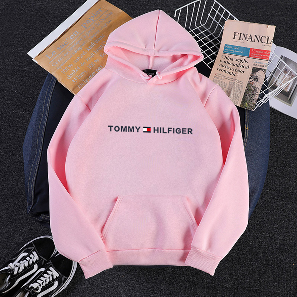 Men Women Hoodie Sweatshirt Printing Letters Thicken Velvet Loose Fashion Pullover Pink_S