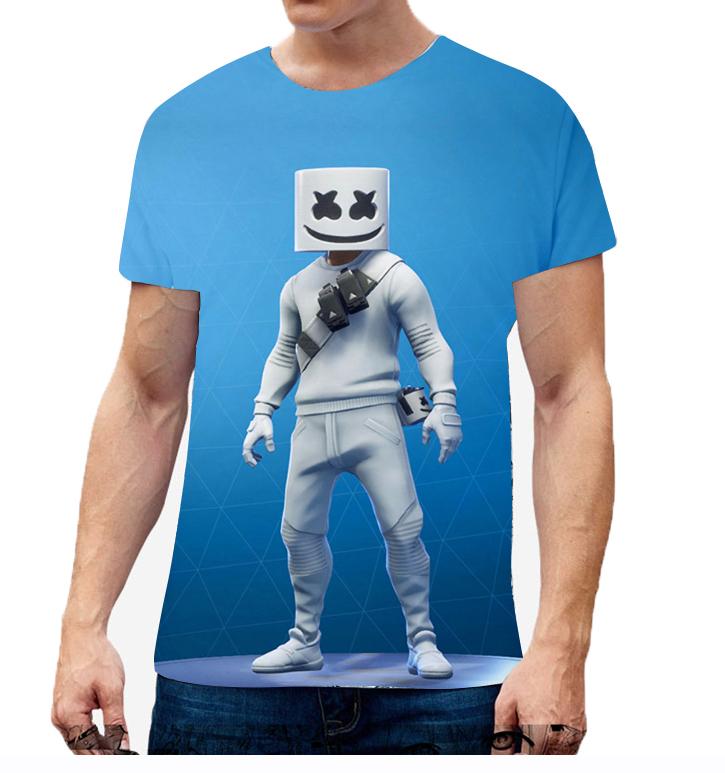 Unisex Vivid Color 3D DJ Marshmello Pattern Fashion Loose Casual Short Sleeve T-shirt K _L