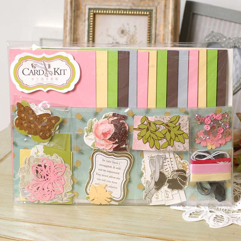 1 Set Of Handmade Material Pack Diy Handmade Greeting Card Making Supplies Kit as picture show