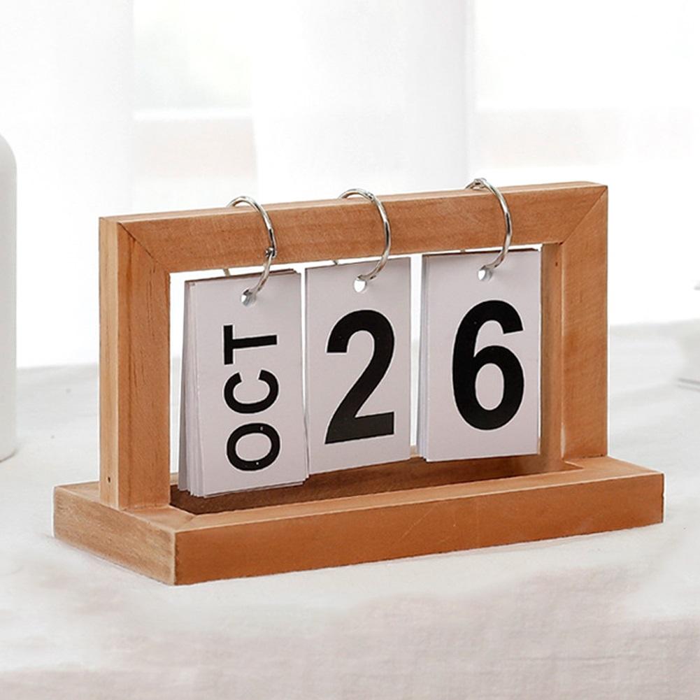 Office Wooden Vintage Home Calendar Cafe Desktop Decorative Diy Flip Calendar For Office Wood color