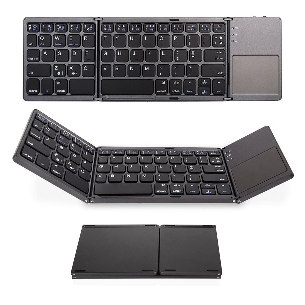 3-Fold- Keyboard Ultra Thin Light ABS Mini Wireless Bluetooth Keyboard Touchpad Windows Android black