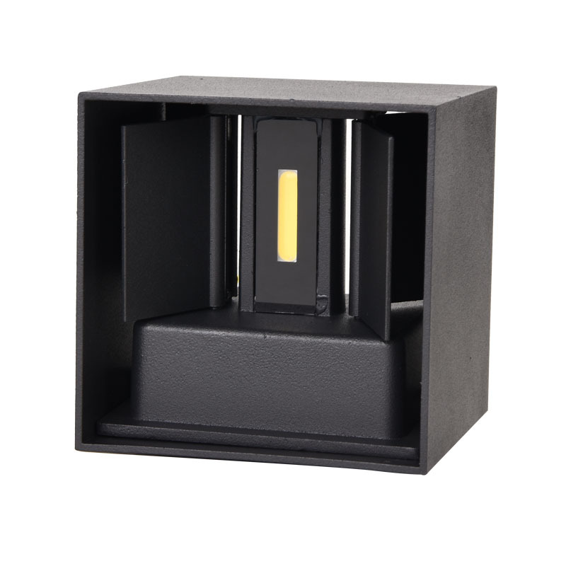 Waterproof Dimmable Aluminum Shell Wall Lamp for Outdoor Lighting White light_BD80 square cover black shell 12W