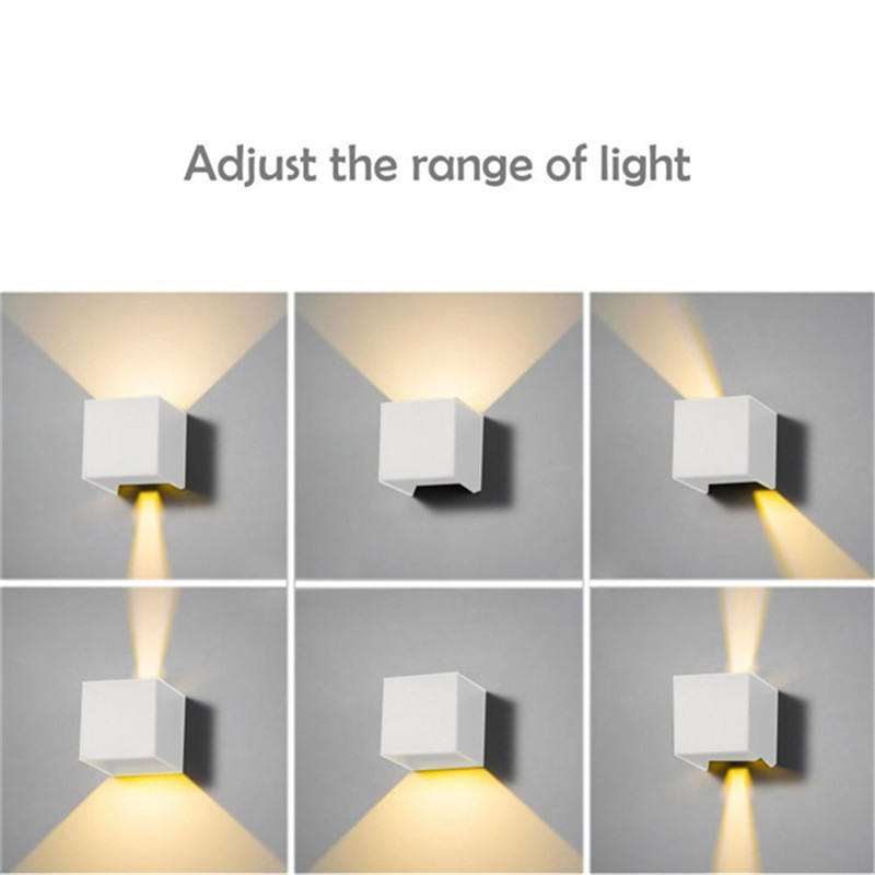 Waterproof Dimmable Aluminum Shell Wall Lamp for Outdoor Lighting warm light_BD80 square cover white shell 12W