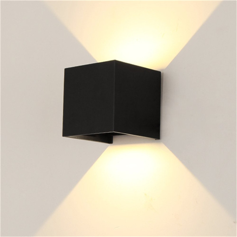 Waterproof Dimmable Aluminum Shell Wall Lamp for Outdoor Lighting warm light_BD80 square cover black shell 12W