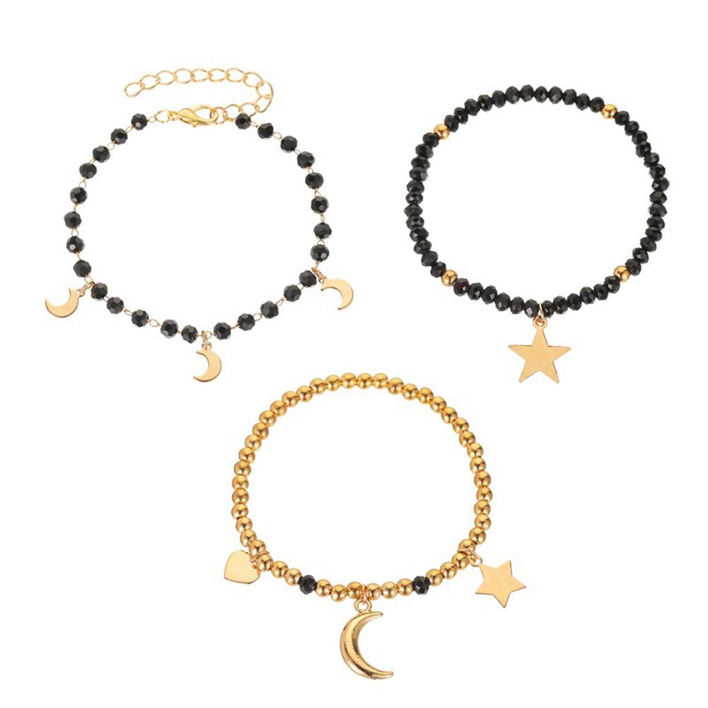 3 Pcs/set Women's Bracelet Handmade Beaded Star and Moon Pendants Bracelet Black gold