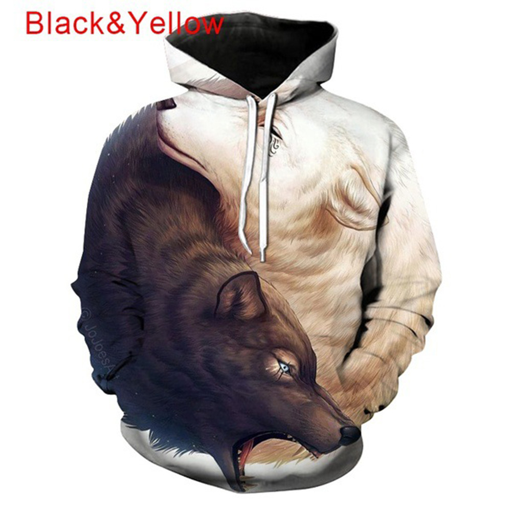 3D Black Yellow Wolf Printing Hooded Sweatshirts Baseball Uniform for Men Women Lovers Black and yellow wolf_S