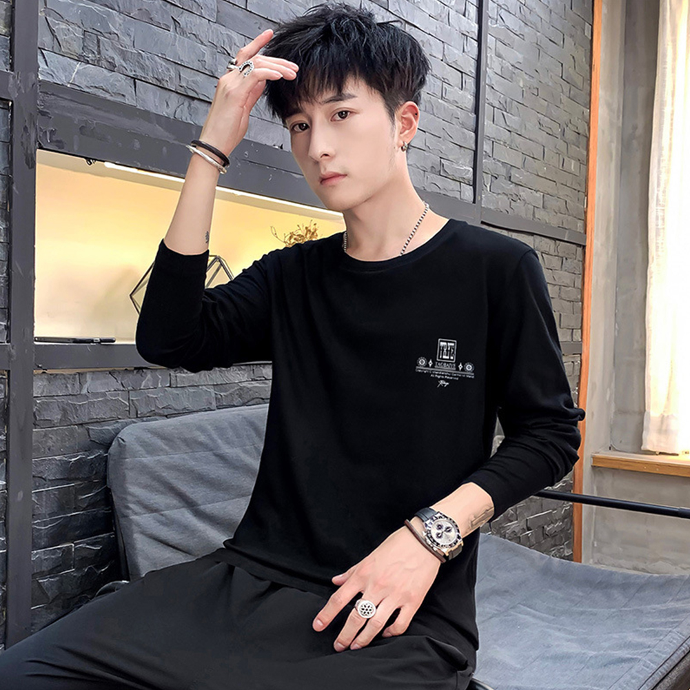 Men Autumn Long Sleeve Round Neck Solid Color Print T-Shirt Cotton Bottoming Shirt Tops black_L