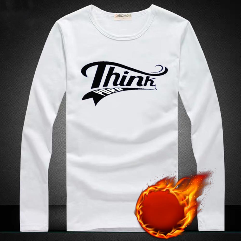 Thicken Velvet Sweater with Cartoon Pattern Decor Loose Pullover Top for Man Plus velvet TH white_M