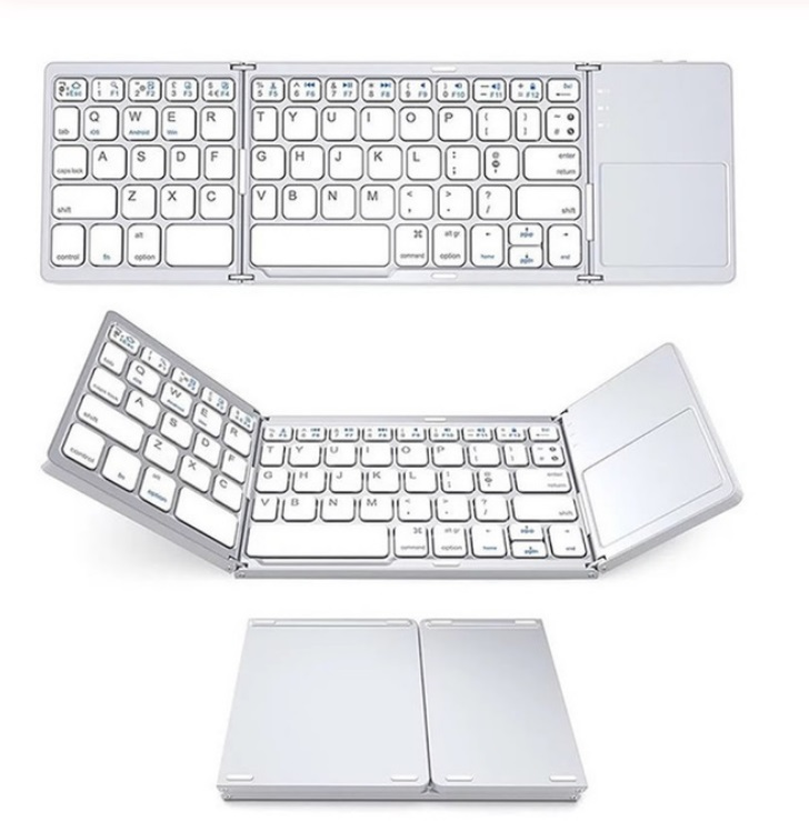 Bluetooth Keyboard Wireless Three-folding Mini Keyboard with Touchpad for Tablet Phone Computer white