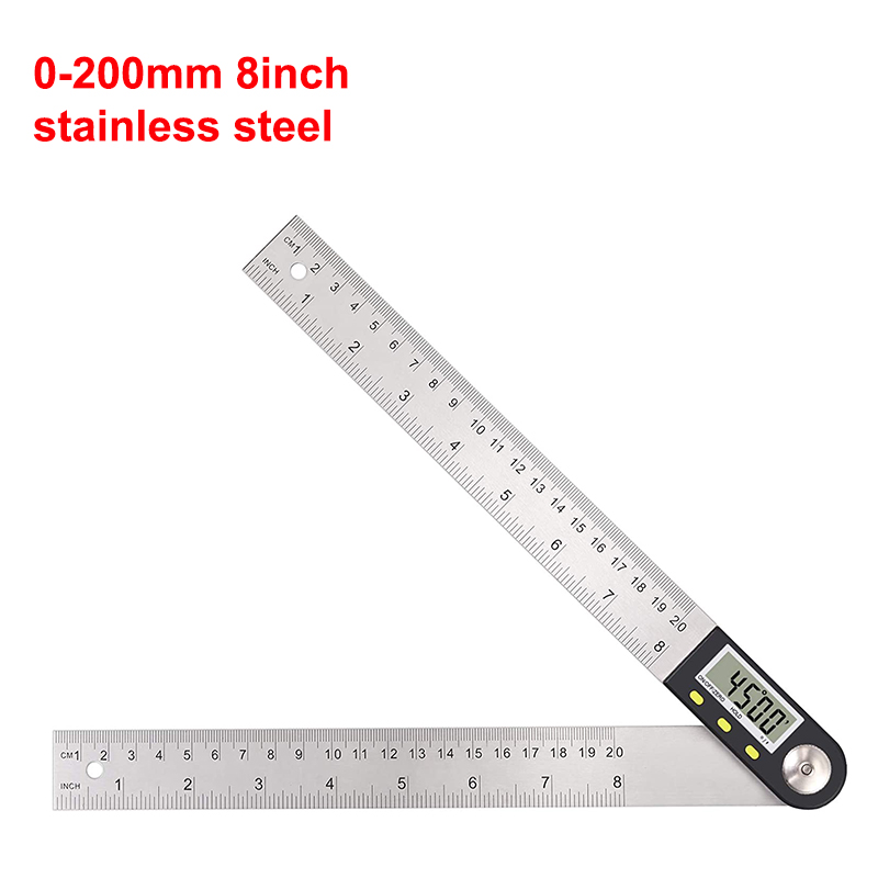 Digital Angle  Ruler With Lcd Display Stainless Steel Angle Measurement For Woodworking Home Work Craftsman Angle ruler 200mm