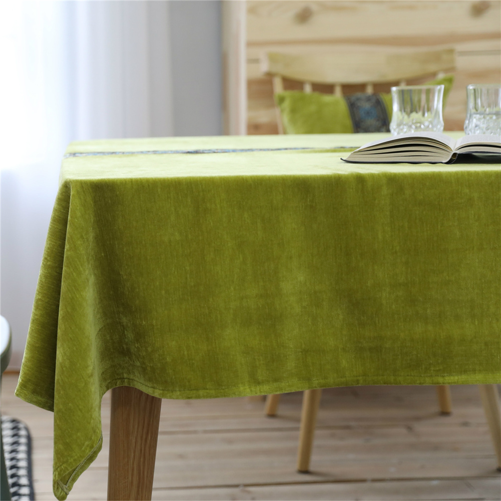 Table Cloth Embroidered Tablecloth Decorative Plush Table Cover For Outdoor Indoor 130*130cm