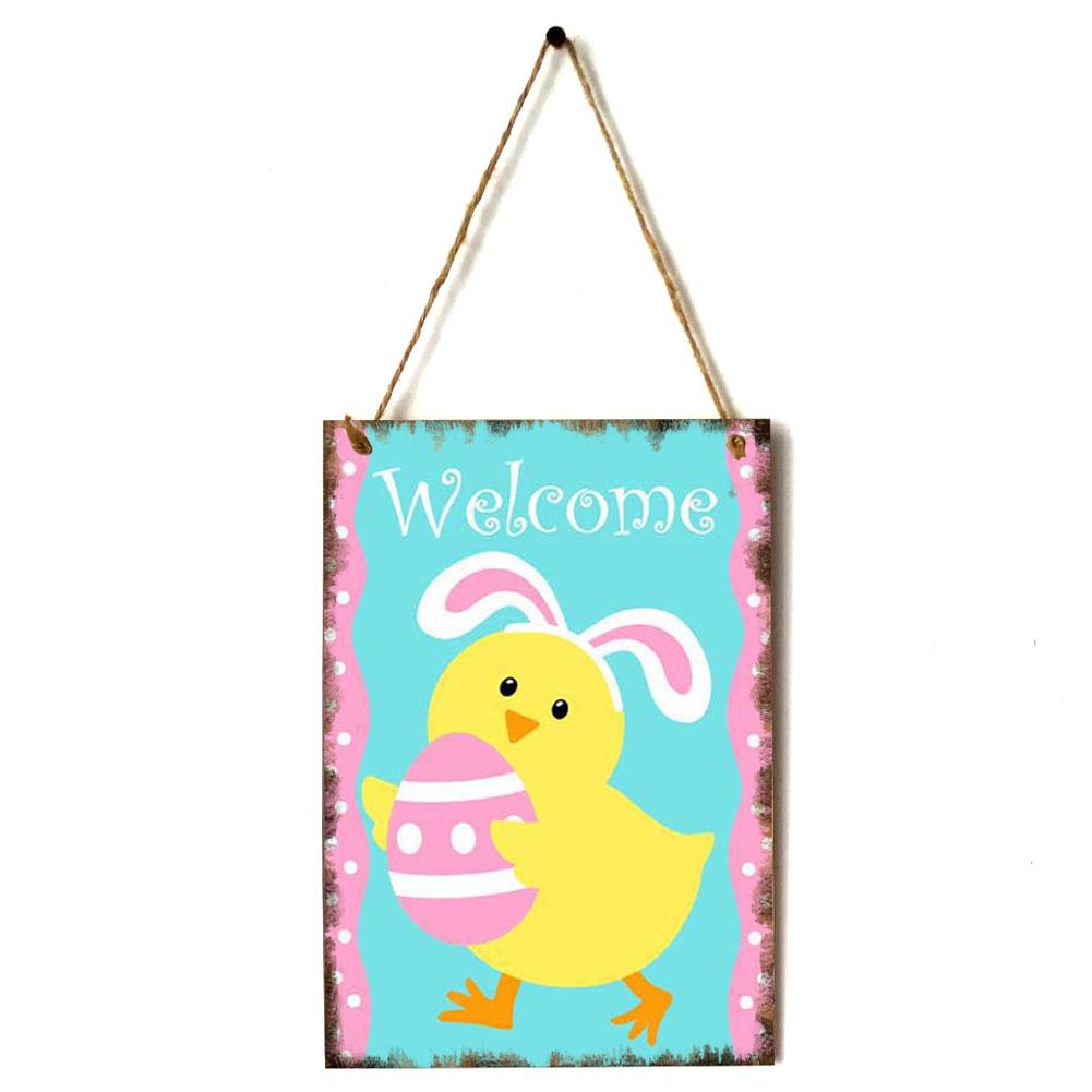 Wooden Happy Easter Chick/Rabbit/Crucifix Pattern Plaque for Door Hanging Decoration Craft JM01138